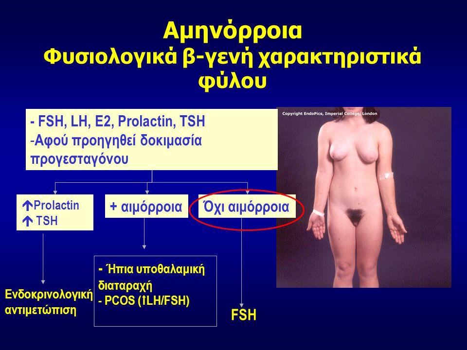Αμηνόρροια Φυσιολογικά β-γενή χαρακτηριστικά φύλου - FSH, LH, Ε2, Prolactin, TSH - Αφού προηγηθεί δοκιμασία προγεσταγόνου + αιμόρροιαΌχι αιμόρροια  Prolactin  TSH Ενδοκρινολογική αντιμετώπιση - Ήπια υποθαλαμική διαταραχή - PCOS (  LH/FSH) FSH