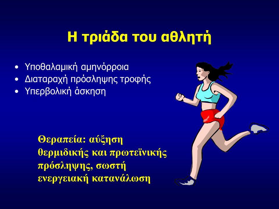 Η τριάδα του αθλητή Υποθαλαμική αμηνόρροια Διαταραχή πρόσληψης τροφής Υπερβολική άσκηση Θεραπεία: αύξηση θερμιδικής και πρωτεϊνικής πρόσληψης, σωστή ενεργειακή κατανάλωση