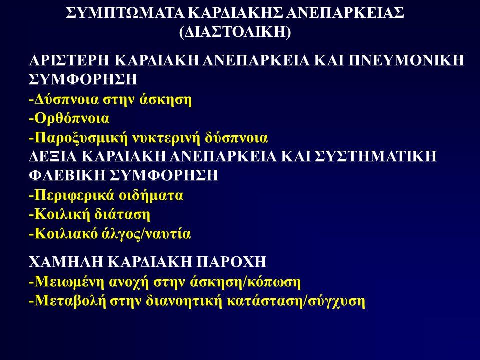 ΣΥΜΠΤΩΜΑΤΑ ΚΑΡΔΙΑΚΗΣ ΑΝΕΠΑΡΚΕΙΑΣ (ΔΙΑΣΤΟΛΙΚΗ) ΑΡΙΣΤΕΡΗ ΚΑΡΔΙΑΚΗ ΑΝΕΠΑΡΚΕΙΑ ΚΑΙ ΠΝΕΥΜΟΝΙΚΗ ΣΥΜΦΟΡΗΣΗ -Δύσπνοια στην άσκηση -Ορθόπνοια -Παροξυσμική νυκτερινή δύσπνοια ΔΕΞΙΑ ΚΑΡΔΙΑΚΗ ΑΝΕΠΑΡΚΕΙΑ ΚΑΙ ΣΥΣΤΗΜΑΤΙΚΗ ΦΛΕΒΙΚΗ ΣΥΜΦΟΡΗΣΗ -Περιφερικά οιδήματα -Κοιλική διάταση -Κοιλιακό άλγος/ναυτία ΧΑΜΗΛΗ ΚΑΡΔΙΑΚΗ ΠΑΡΟΧΗ -Μειωμένη ανοχή στην άσκηση/κόπωση -Μεταβολή στην διανοητική κατάσταση/σύγχυση