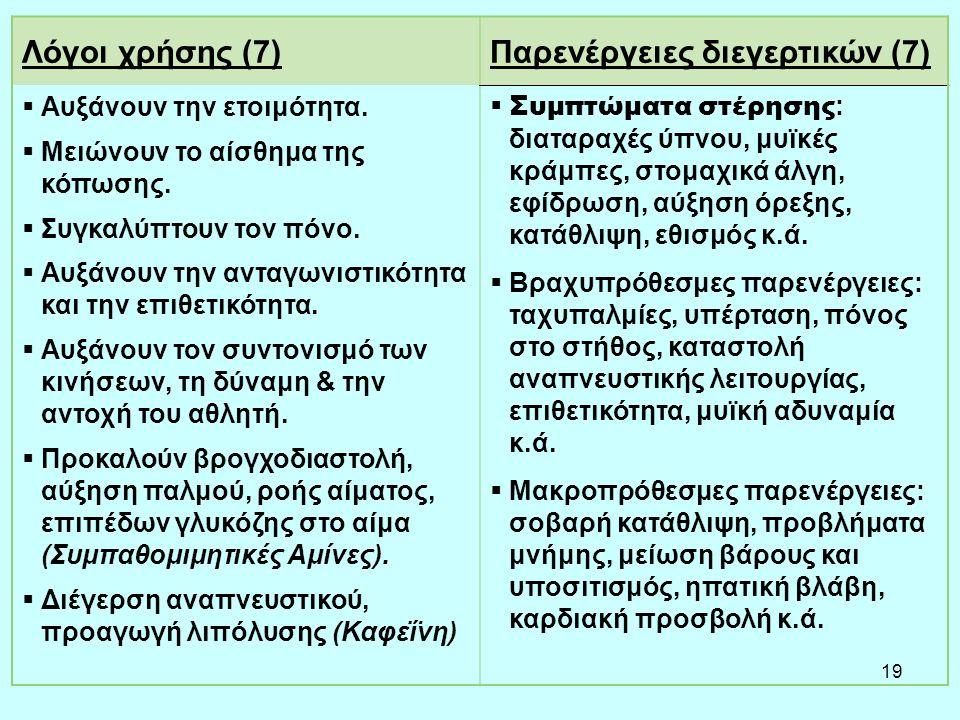 19 Λόγοι χρήσης (7)Παρενέργειες διεγερτικών (7)  Αυξάνουν την ετοιμότητα.