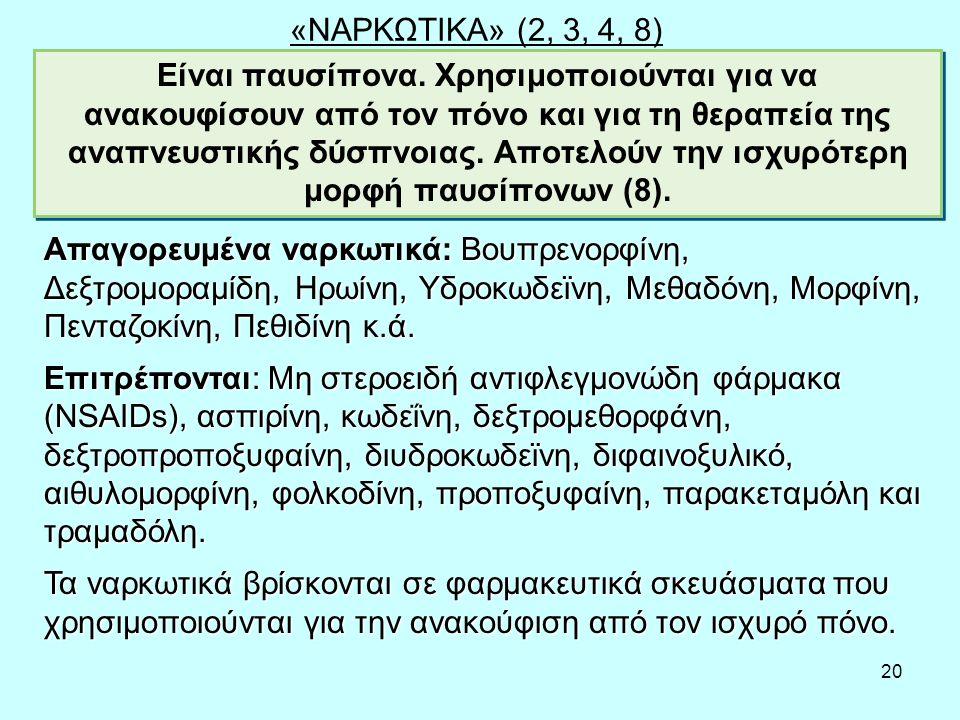 20 «ΝΑΡΚΩΤΙΚΑ» (2, 3, 4, 8) Είναι παυσίπονα.