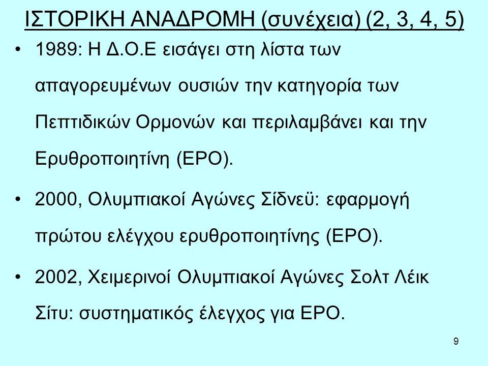 9 ΙΣΤΟΡΙΚΗ ΑΝΑΔΡΟΜΗ (συνέχεια) (2, 3, 4, 5) 1989: Η Δ.Ο.Ε εισάγει στη λίστα των απαγορευμένων ουσιών την κατηγορία των Πεπτιδικών Ορμονών και περιλαμβάνει και την Ερυθροποιητίνη (ΕΡΟ).