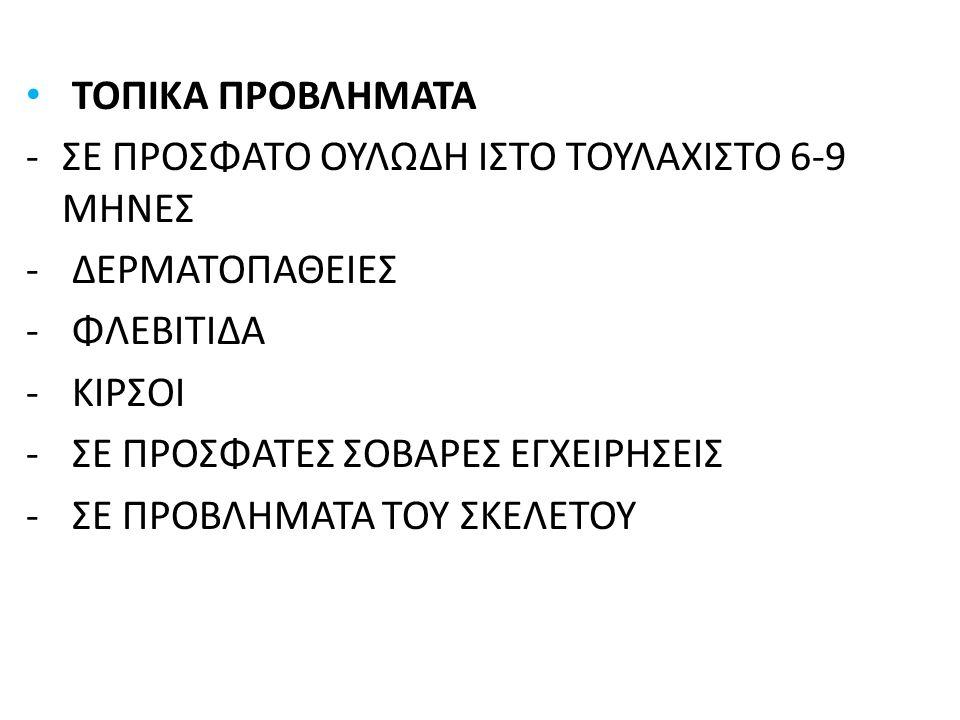 ΤΟΠΙΚΑ ΠΡΟΒΛΗΜΑΤΑ -ΣΕ ΠΡΟΣΦΑΤΟ ΟΥΛΩΔΗ ΙΣΤΟ ΤΟΥΛΑΧΙΣΤΟ 6-9 ΜΗΝΕΣ - ΔΕΡΜΑΤΟΠΑΘΕΙΕΣ - ΦΛΕΒΙΤΙΔΑ - ΚΙΡΣΟΙ - ΣΕ ΠΡΟΣΦΑΤΕΣ ΣΟΒΑΡΕΣ ΕΓΧΕΙΡΗΣΕΙΣ - ΣΕ ΠΡΟΒΛΗΜΑΤΑ ΤΟΥ ΣΚΕΛΕΤΟΥ
