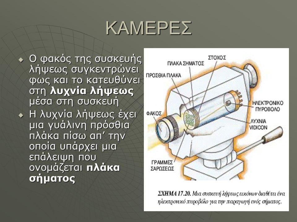 ΚΑΜΕΡΕΣ  Ο φακός της συσκευής λήψεως συγκεντρώνει φως και το κατευθύνει στη λυχνία λήψεως μέσα στη συσκευή  Η λυχνία λήψεως έχει μια γυάλινη πρόσθια πλάκα πίσω απ' την οποία υπάρχει μια επάλειψη που ονομάζεται πλάκα σήματος