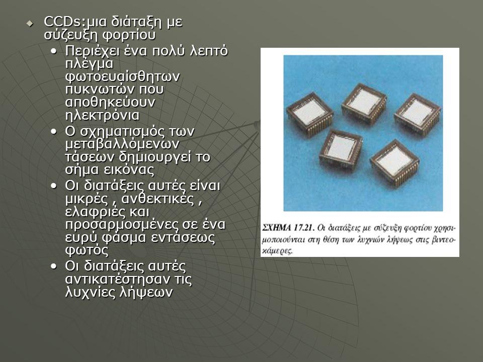  CCDs:μια διάταξη με σύζευξη φορτίου Περιέχει ένα πολύ λεπτό πλέγμα φωτοευαίσθητων πυκνωτών που αποθηκεύουν ηλεκτρόνιαΠεριέχει ένα πολύ λεπτό πλέγμα φωτοευαίσθητων πυκνωτών που αποθηκεύουν ηλεκτρόνια Ο σχηματισμός των μεταβαλλόμενων τάσεων δημιουργεί το σήμα εικόναςΟ σχηματισμός των μεταβαλλόμενων τάσεων δημιουργεί το σήμα εικόνας Οι διατάξεις αυτές είναι μικρές, ανθεκτικές, ελαφριές και προσαρμοσμένες σε ένα ευρύ φάσμα εντάσεως φωτόςΟι διατάξεις αυτές είναι μικρές, ανθεκτικές, ελαφριές και προσαρμοσμένες σε ένα ευρύ φάσμα εντάσεως φωτός Οι διατάξεις αυτές αντικατέστησαν τις λυχνίες λήψεωνΟι διατάξεις αυτές αντικατέστησαν τις λυχνίες λήψεων