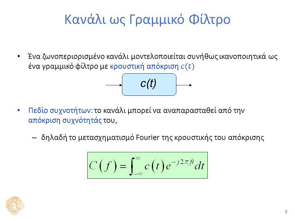 58 Ζωνοπερατά Κανάλια (3 από 4) (OXI) Το ζωνοπερατό σήμα που τελικά μεταδίδεται φυσικά δεν είναι μιγαδικό, αλλά πραγματικό Ισοδύναμο σήμα βασικής ζώνης (χαμηλοπερατό σήμα) – PAM: πραγματικό σήμα – QAM, PSK: μιγαδικό σήμα, εφόσον η πληροφορία είναι μιγαδική (σημεία του αστερισμού)