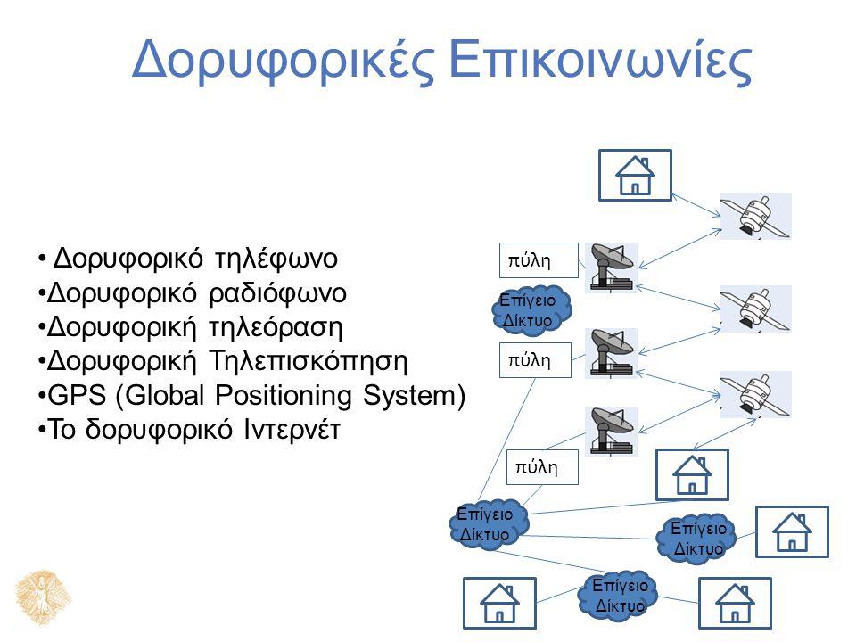 Δορυφορικές Επικοινωνίες Δορυφορικό τηλέφωνο Δορυφορικό ραδιόφωνο Δορυφορική τηλεόραση Δορυφορική Τηλεπισκόπηση GPS (Global Positioning System) Το δορυφορικό Ιντερνέτ πύλη Επίγειο Δίκτυο