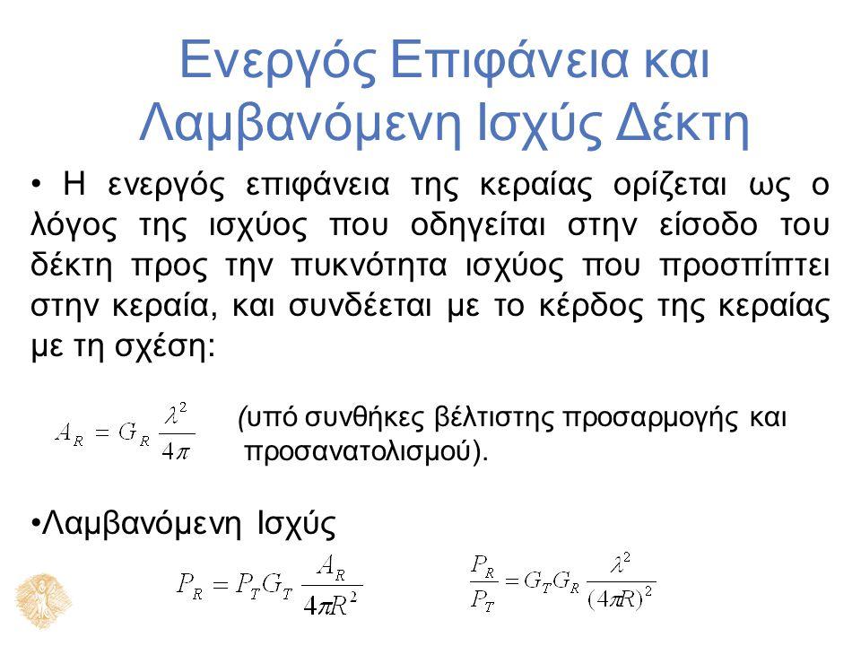 Ενεργός Επιφάνεια και Λαμβανόμενη Ισχύς Δέκτη Η ενεργός επιφάνεια της κεραίας ορίζεται ως ο λόγος της ισχύος που οδηγείται στην είσοδο του δέκτη προς την πυκνότητα ισχύος που προσπίπτει στην κεραία, και συνδέεται με το κέρδος της κεραίας με τη σχέση: (υπό συνθήκες βέλτιστης προσαρμογής και προσανατολισμού).