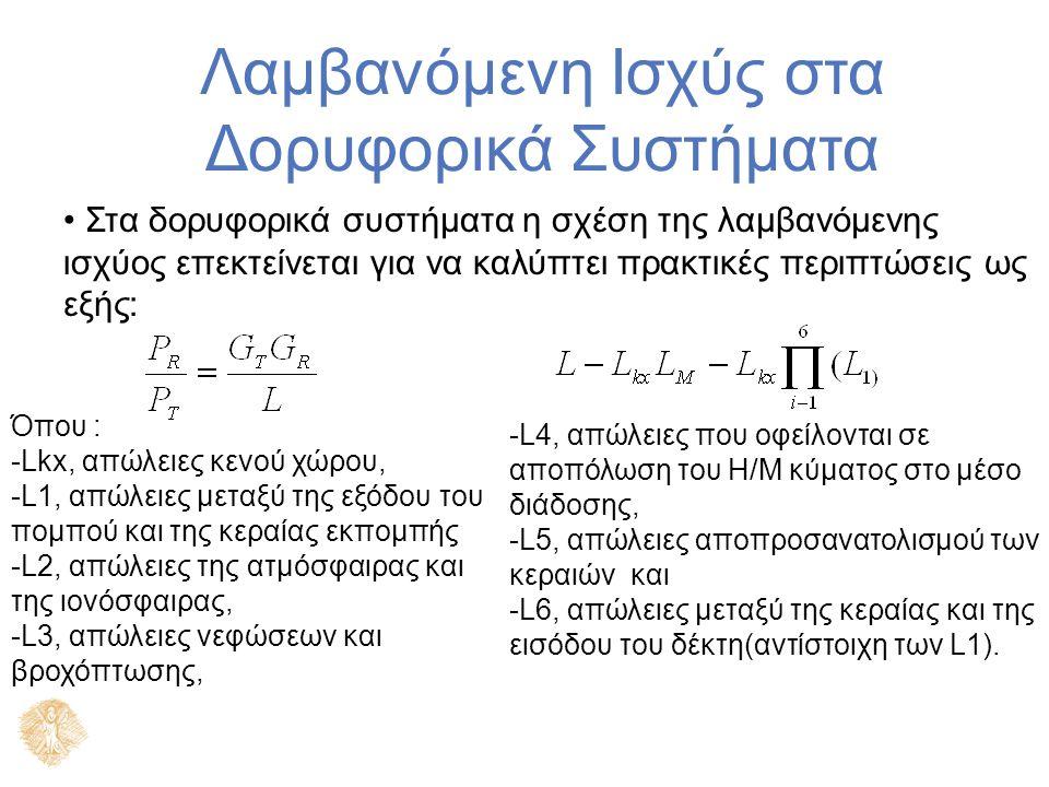 Λαμβανόμενη Ισχύς στα Δορυφορικά Συστήματα Όπου : -Lkx, απώλειες κενού χώρου, -L1, απώλειες μεταξύ της εξόδου του πομπού και της κεραίας εκπομπής -L2, απώλειες της ατμόσφαιρας και της ιονόσφαιρας, -L3, απώλειες νεφώσεων και βροχόπτωσης, Στα δορυφορικά συστήματα η σχέση της λαμβανόμενης ισχύος επεκτείνεται για να καλύπτει πρακτικές περιπτώσεις ως εξής: -L4, απώλειες που οφείλονται σε αποπόλωση του Η/Μ κύματος στο μέσο διάδοσης, -L5, απώλειες αποπροσανατολισμού των κεραιών και -L6, απώλειες μεταξύ της κεραίας και της εισόδου του δέκτη(αντίστοιχη των L1).