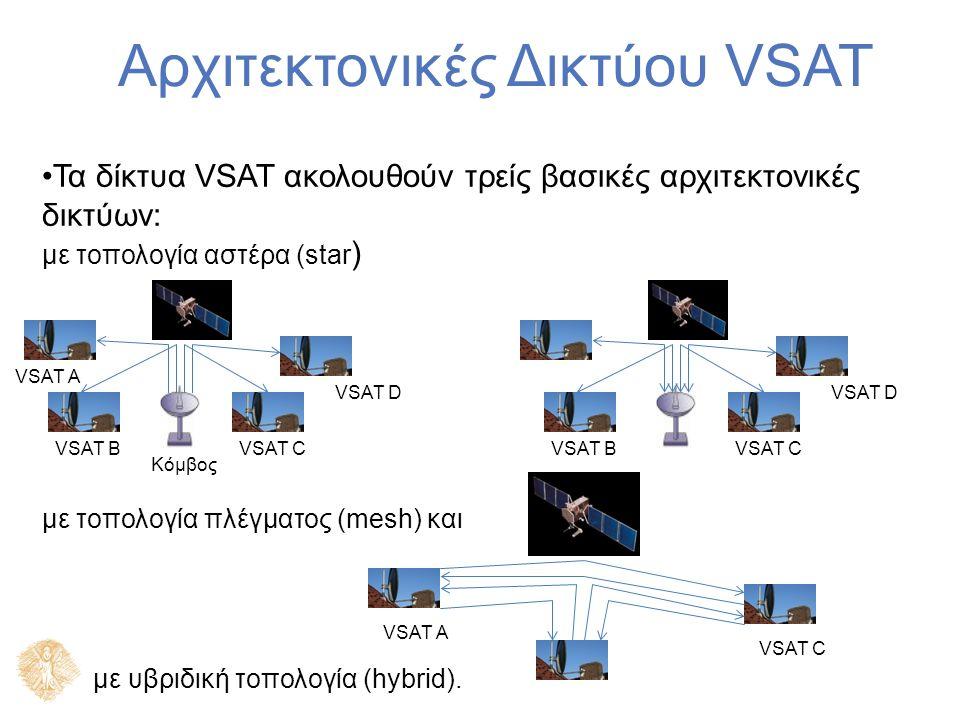 Αρχιτεκτονικές Δικτύου VSAT Τα δίκτυα VSAT ακολουθούν τρείς βασικές αρχιτεκτονικές δικτύων: με τοπολογία αστέρα (star ) με τοπολογία πλέγματος (mesh) και με υβριδική τοπολογία (hybrid).