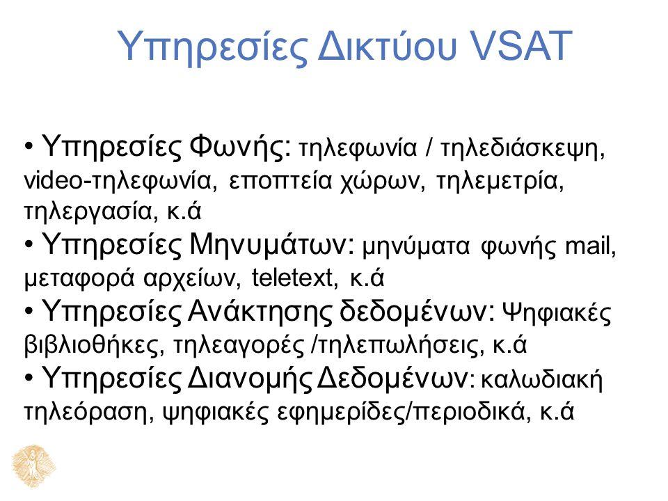 Υπηρεσίες Δικτύου VSAT Υπηρεσίες Φωνής: τηλεφωνία / τηλεδιάσκεψη, video-τηλεφωνία, εποπτεία χώρων, τηλεμετρία, τηλεργασία, κ.ά Υπηρεσίες Μηνυμάτων: μηνύματα φωνής mail, μεταφορά αρχείων, teletext, κ.ά Υπηρεσίες Ανάκτησης δεδομένων: Ψηφιακές βιβλιοθήκες, τηλεαγορές /τηλεπωλήσεις, κ.ά Υπηρεσίες Διανομής Δεδομένων : καλωδιακή τηλεόραση, ψηφιακές εφημερίδες/περιοδικά, κ.ά