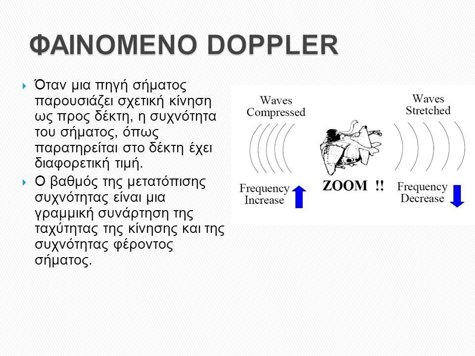  Όταν μια πηγή σήματος παρουσιάζει σχετική κίνηση ως προς δέκτη, η συχνότητα του σήματος, όπως παρατηρείται στο δέκτη έχει διαφορετική τιμή.