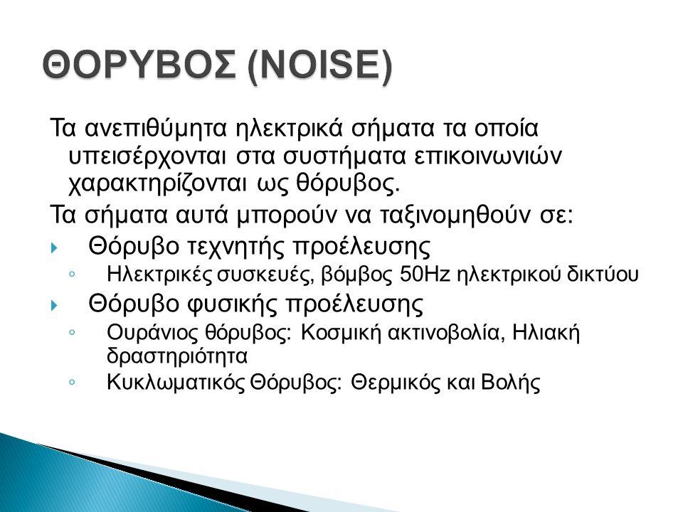 Τα ανεπιθύμητα ηλεκτρικά σήματα τα οποία υπεισέρχονται στα συστήματα επικοινωνιών χαρακτηρίζονται ως θόρυβος.