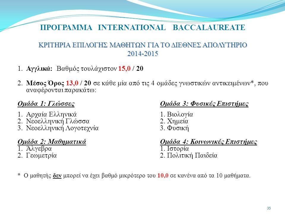 1.Αγγλικά: Βαθμός τουλάχιστον 15,0 / 20 2.Μέσος Όρος 13,0 / 20 σε κάθε μία από τις 4 ομάδες γνωστικών αντικειμένων*, που αναφέρονται παρακάτω: Ομάδα 1: Γλώσσες Ομάδα 3: Φυσικές Επιστήμες 1.Αρχαία Ελληνικά 1.