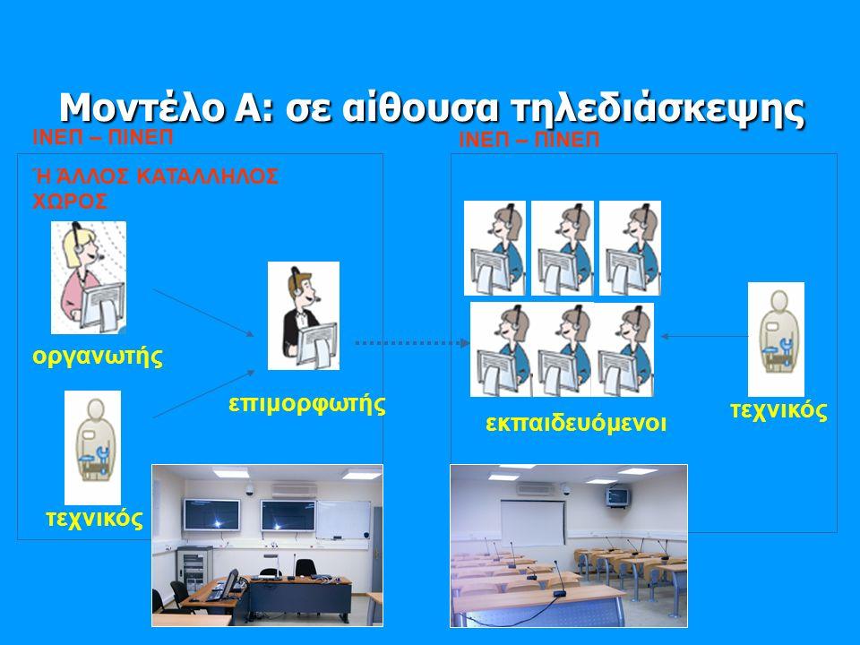 Μοντέλο Α: σε αίθουσα τηλεδιάσκεψης ΙΝΕΠ – ΠΙΝΕΠ Ή ΆΛΛΟΣ ΚΑΤΑΛΛΗΛΟΣ ΧΩΡΟΣ επιμορφωτής οργανωτής τεχνικός ΙΝΕΠ – ΠΙΝΕΠ εκπαιδευόμενοι τεχνικός