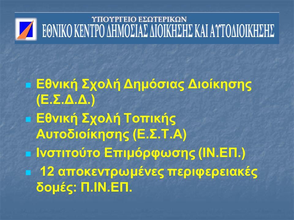 Εθνική Σχολή Δημόσιας Διοίκησης (Ε.Σ.Δ.Δ.) Εθνική Σχολή Τοπικής Αυτοδιοίκησης (Ε.Σ.Τ.Α) Ινστιτούτο Επιμόρφωσης (ΙΝ.ΕΠ.) 12 αποκεντρωμένες περιφερειακές δομές: Π.ΙΝ.ΕΠ.