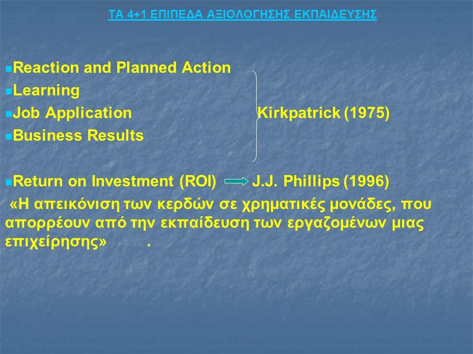 ΤΑ 4+1 ΕΠΙΠΕΔΑ ΑΞΙΟΛΟΓΗΣΗΣ ΕΚΠΑΙΔΕΥΣΗΣ Reaction and Planned Action Learning Job Application Kirkpatrick (1975) Business Results Return on Investment (ROI) J.J.