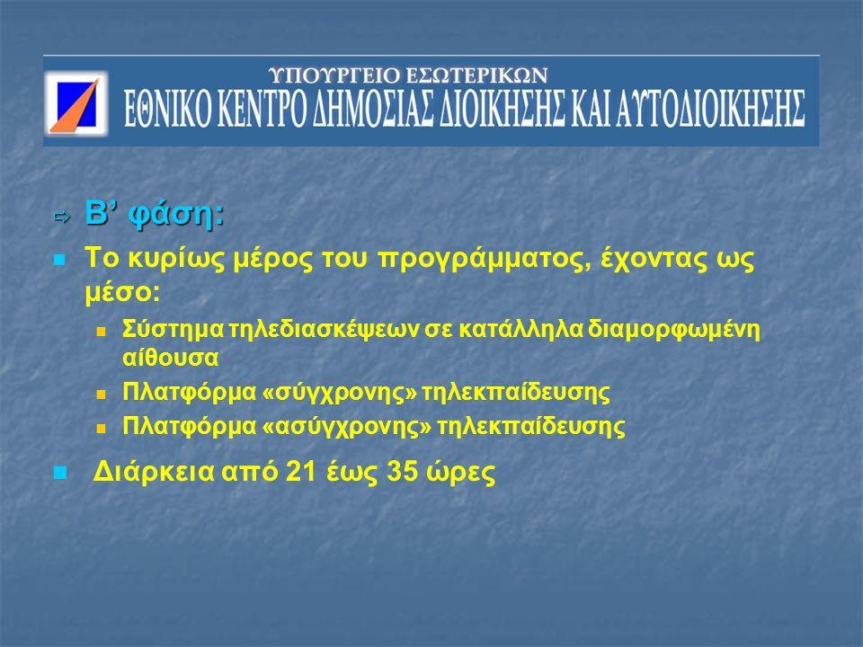 Β' φάση: Το κυρίως μέρος του προγράμματος, έχοντας ως μέσο: Σύστημα τηλεδιασκέψεων σε κατάλληλα διαμορφωμένη αίθουσα Πλατφόρμα «σύγχρονης» τηλεκπαίδευσης Πλατφόρμα «ασύγχρονης» τηλεκπαίδευσης Διάρκεια από 21 έως 35 ώρες