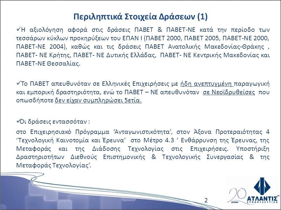 Περιληπτικά Στοιχεία Δράσεων (1) Η αξιολόγηση αφορά στις δράσεις ΠΑΒΕΤ & ΠΑΒΕΤ-ΝΕ κατά την περίοδο των τεσσάρων κύκλων προκηρύξεων του ΕΠΑΝ Ι (ΠΑΒΕΤ 2000, ΠΑΒΕΤ 2005, ΠΑΒΕΤ-ΝΕ 2000, ΠΑΒΕΤ-ΝΕ 2004), καθώς και τις δράσεις ΠΑΒΕΤ Ανατολικής Μακεδονίας-Θράκης, ΠΑΒΕΤ- ΝΕ Κρήτης, ΠΑΒΕΤ- ΝΕ Δυτικής Ελλάδας, ΠΑΒΕΤ- ΝΕ Κεντρικής Μακεδονίας και ΠΑΒΕΤ-ΝΕ Θεσσαλίας.