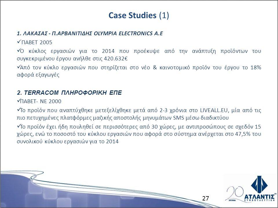 Case Studies (1) 1. ΛΑΚΑΣΑΣ - Π.ΑΡΒΑΝΙΤΙΔΗΣ OLYMPIA ELECTRONICS Α.Ε ΠΑΒΕΤ 2005 Ο κύκλος εργασιών για το 2014 που προέκυψε από την ανάπτυξη προϊόντων τ