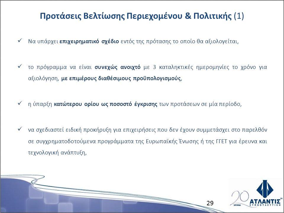 Προτάσεις Βελτίωσης Περιεχομένου & Πολιτικής (1) Να υπάρχει επιχειρηματικό σχέδιο εντός της πρότασης το οποίο θα αξιολογείται, το πρόγραμμα να είναι συνεχώς ανοιχτό με 3 καταληκτικές ημερομηνίες το χρόνο για αξιολόγηση, με επιμέρους διαθέσιμους προϋπολογισμούς, η ύπαρξη κατώτερου ορίου ως ποσοστό έγκρισης των προτάσεων σε μία περίοδο, να σχεδιαστεί ειδική προκήρυξη για επιχειρήσεις που δεν έχουν συμμετάσχει στο παρελθόν σε συγχρηματοδοτούμενα προγράμματα της Ευρωπαϊκής Ένωσης ή της ΓΓΕΤ για έρευνα και τεχνολογική ανάπτυξη, 29