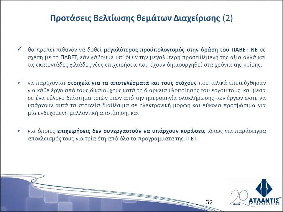 Προτάσεις Βελτίωσης θεμάτων Διαχείρισης (2) θα πρέπει πιθανόν να δοθεί μεγαλύτερος προϋπολογισμός στην δράση του ΠΑΒΕΤ-ΝΕ σε σχέση με το ΠΑΒΕΤ, εάν λά