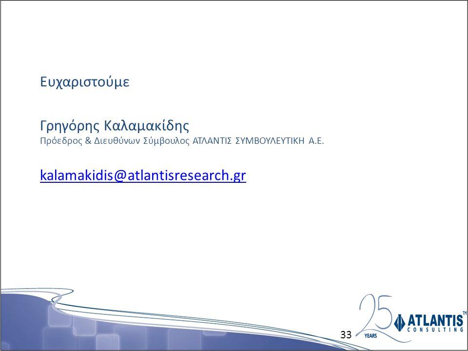 Ευχαριστούμε Γρηγόρης Καλαμακίδης Πρόεδρος & Διευθύνων Σύμβουλος ΑΤΛΑΝΤΙΣ ΣΥΜΒΟΥΛΕΥΤΙΚΗ Α.Ε. kalamakidis@atlantisresearch.gr kalamakidis@atlantisresea