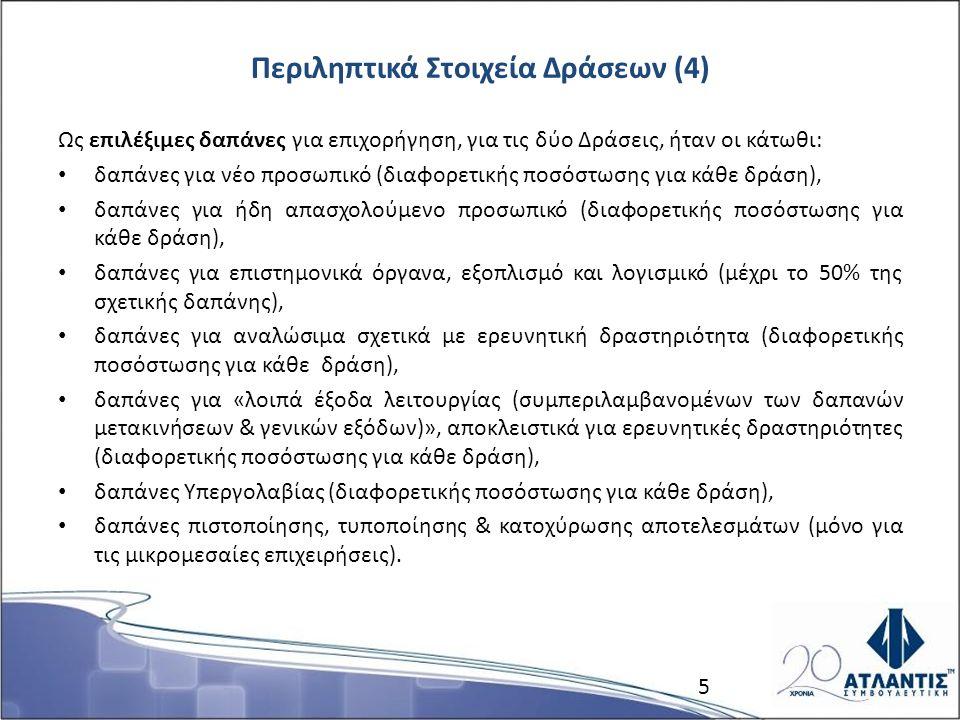 Περιληπτικά Στοιχεία Δράσεων (4) Ως επιλέξιμες δαπάνες για επιχορήγηση, για τις δύο Δράσεις, ήταν οι κάτωθι: δαπάνες για νέο προσωπικό (διαφορετικής ποσόστωσης για κάθε δράση), δαπάνες για ήδη απασχολούμενο προσωπικό (διαφορετικής ποσόστωσης για κάθε δράση), δαπάνες για επιστημονικά όργανα, εξοπλισμό και λογισμικό (μέχρι το 50% της σχετικής δαπάνης), δαπάνες για αναλώσιμα σχετικά με ερευνητική δραστηριότητα (διαφορετικής ποσόστωσης για κάθε δράση), δαπάνες για «λοιπά έξοδα λειτουργίας (συμπεριλαμβανομένων των δαπανών μετακινήσεων & γενικών εξόδων)», αποκλειστικά για ερευνητικές δραστηριότητες (διαφορετικής ποσόστωσης για κάθε δράση), δαπάνες Υπεργολαβίας (διαφορετικής ποσόστωσης για κάθε δράση), δαπάνες πιστοποίησης, τυποποίησης & κατοχύρωσης αποτελεσμάτων (μόνο για τις μικρομεσαίες επιχειρήσεις).