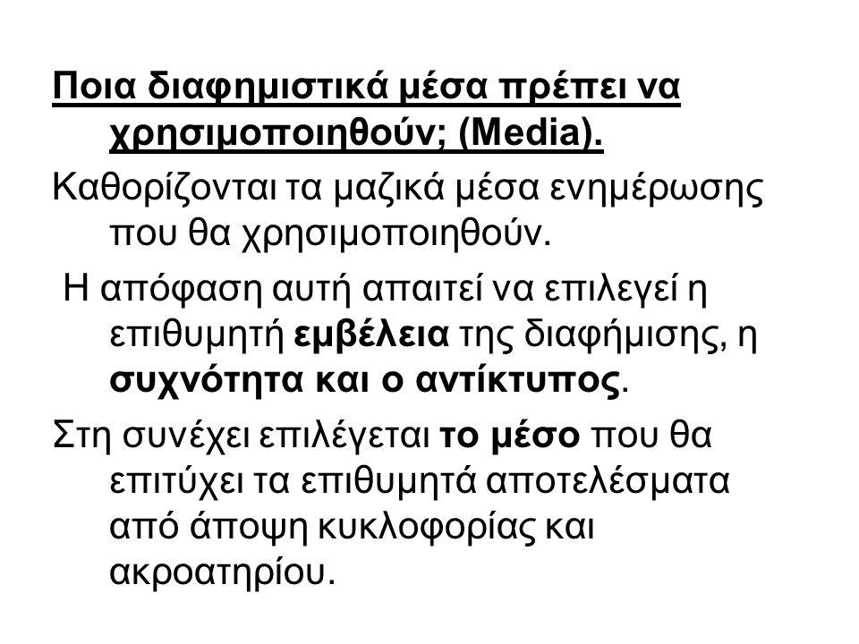 Ποια διαφημιστικά μέσα πρέπει να χρησιμοποιηθούν; (Media).