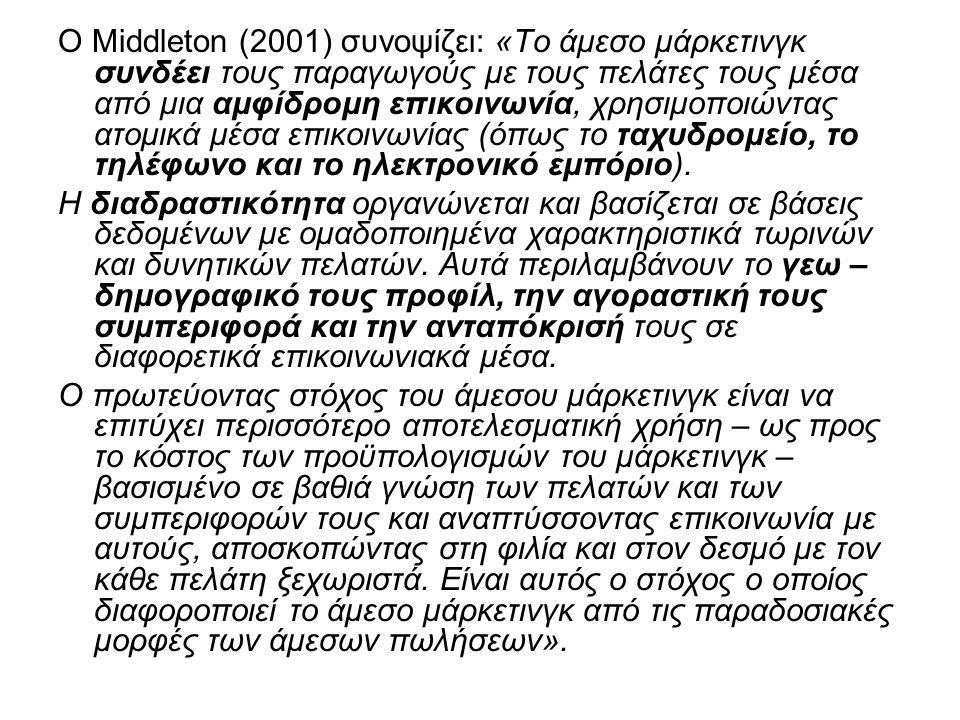 Ο Middleton (2001) συνοψίζει: «Το άμεσο μάρκετινγκ συνδέει τους παραγωγούς με τους πελάτες τους μέσα από μια αμφίδρομη επικοινωνία, χρησιμοποιώντας ατομικά μέσα επικοινωνίας (όπως το ταχυδρομείο, το τηλέφωνο και το ηλεκτρονικό εμπόριο).