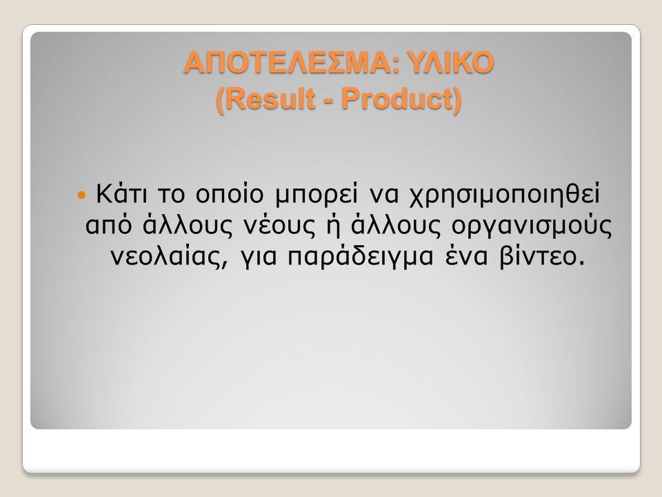 ΑΠΟΤΕΛΕΣΜΑ: ΥΛΙΚΟ (Result - Product) Κάτι το οποίο μπορεί να χρησιμοποιηθεί από άλλους νέους ή άλλους οργανισμούς νεολαίας, για παράδειγμα ένα βίντεο.