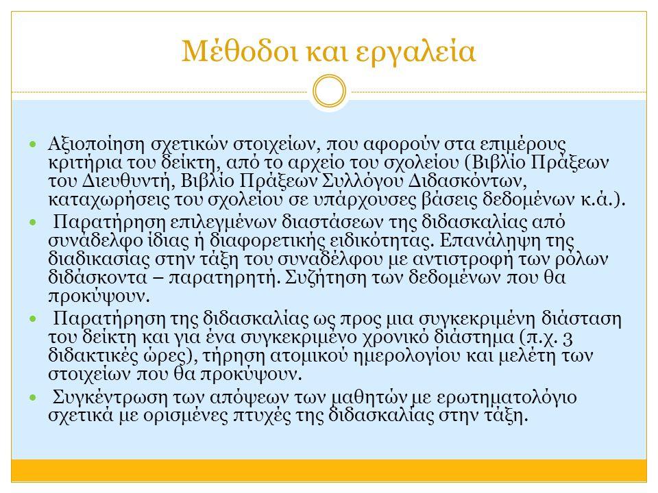 Μέθοδοι και εργαλεία Αξιοποίηση σχετικών στοιχείων, που αφορούν στα επιμέρους κριτήρια του δείκτη, από το αρχείο του σχολείου (Βιβλίο Πράξεων του Διευθυντή, Βιβλίο Πράξεων Συλλόγου Διδασκόντων, καταχωρήσεις του σχολείου σε υπάρχουσες βάσεις δεδομένων κ.ά.).