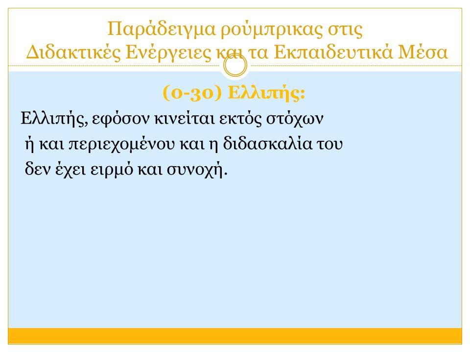 Παράδειγμα ρούμπρικας στις Διδακτικές Ενέργειες και τα Εκπαιδευτικά Μέσα (0-30) Ελλιπής: Ελλιπής, εφόσον κινείται εκτός στόχων ή και περιεχομένου και η διδασκαλία του δεν έχει ειρμό και συνοχή.