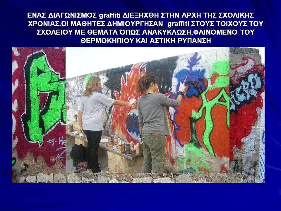 ΕΝΑΣ ΔΙΑΓΩΝΙΣΜΟΣ graffiti ΔΙΕΞΗΧΘΗ ΣΤΗΝ ΑΡΧΗ ΤΗΣ ΣΧΟΛΙΚΗΣ ΧΡΟΝΙΑΣ.ΟΙ ΜΑΘΗΤΕΣ ΔΗΜΙΟΥΡΓΗΣΑΝ graffiti ΣΤΟΥΣ ΤΟΙΧΟΥΣ ΤΟΥ ΣΧΟΛΕΙΟΥ ΜΕ ΘΕΜΑΤΑ ΌΠΩΣ ΑΝΑΚΥΚΛΩΣΗ,ΦΑΙΝΟΜΕΝΟ ΤΟΥ ΘΕΡΜΟΚΗΠΙΟΥ ΚΑΙ ΑΣΤΙΚΗ ΡΥΠΑΝΣΗ