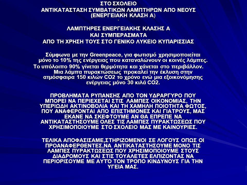 ΣΤΟ ΣΧΟΛΕΙΟ ΑΝΤΙΚΑΤΑΣΤΑΣΗ ΣΥΜΒΑΤΙΚΩΝ ΛΑΜΠΤΗΡΩΝ ΑΠΟ ΝΕΟΥΣ (ΕΝΕΡΓΕΙΑΚΗ ΚΛΑΣΗ Α) ` ΛΑΜΠΤΗΡΕΣ ΕΝΕΡΓΕΙΑΚΗΣ ΚΛΑΣΗΣ Α ΚΑΙ ΣΥΜΠΕΡΑΣΜΑΤΑ ΑΠΟ ΤΗ ΧΡΗΣΗ ΤΟΥΣ ΣΤΟ ΓΕΝΙΚΟ ΛΥΚΕΙΟ ΚΥΠΑΡΙΣΣΙΑΣ Σύμφωνα με την Greenpeace, για φωτισμό χρησιμοποιείται μόνο το 10% της ενέργειας που καταναλώνουν οι κοινές λάμπες.