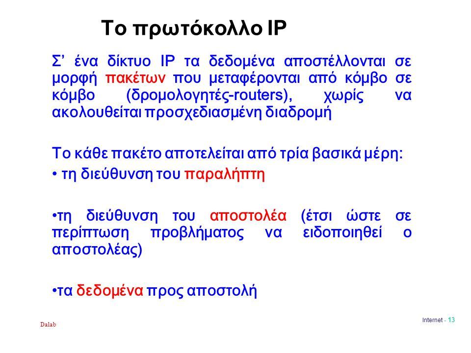 Dalab Internet - 13 Το πρωτόκολλο IP Σ' ένα δίκτυο IP τα δεδομένα αποστέλλονται σε μορφή πακέτων που μεταφέρονται από κόμβο σε κόμβο (δρομολογητές-rou