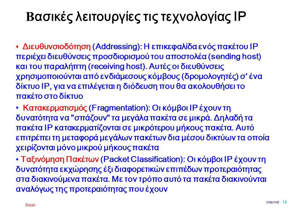 Dalab Internet - 14 Β ασικές λειτουργίες τις τεχνολογίας IP Διευθυνσιοδότηση (Addressing): Η επικεφαλίδα ενός πακέτου ΙΡ περιέχει διευθύνσεις προσδιορισμού του αποστολέα (sending host) και του παραλήπτη (receiving host).