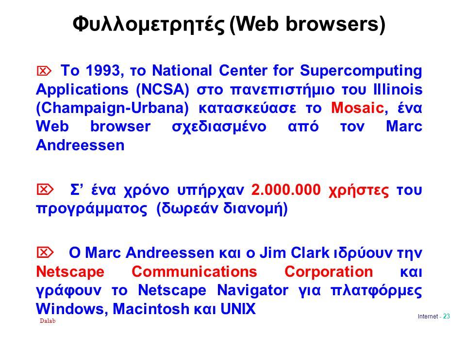 Dalab Internet - 23 Φυλλομετρητές (Web browsers)  Το 1993, το National Center for Supercomputing Applications (NCSA) στο πανεπιστήμιο του Illinois (Champaign-Urbana) κατασκεύασε το Mosaic, ένα Web browser σχεδιασμένο από τον Marc Andreessen  Σ' ένα χρόνο υπήρχαν 2.000.000 χρήστες του προγράμματος (δωρεάν διανομή)  Ο Marc Andreessen και ο Jim Clark ιδρύουν την Netscape Communications Corporation και γράφουν το Netscape Navigator για πλατφόρμες Windows, Macintosh και UNIX