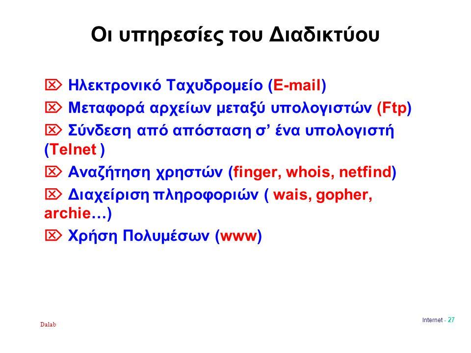 Dalab Internet - 27 Οι υπηρεσίες του Διαδικτύου  Ηλεκτρονικό Ταχυδρομείο (E-mail)  Μεταφορά αρχείων μεταξύ υπολογιστών (Ftp)  Σύνδεση από απόσταση σ' ένα υπολογιστή (Telnet )  Αναζήτηση χρηστών (finger, whois, netfind)  Διαχείριση πληροφοριών ( wais, gopher, archie…)  Χρήση Πολυμέσων (www)