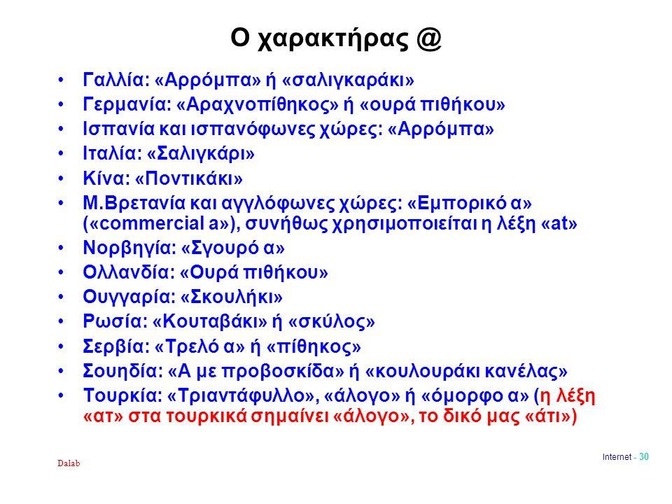 Dalab Internet - 30 Ο χαρακτήρας @ Γαλλία: «Αρρόμπα» ή «σαλιγκαράκι» Γερμανία: «Αραχνοπίθηκος» ή «ουρά πιθήκου» Ισπανία και ισπανόφωνες χώρες: «Αρρόμπα» Ιταλία: «Σαλιγκάρι» Κίνα: «Ποντικάκι» Μ.Βρετανία και αγγλόφωνες χώρες: «Εμπορικό α» («commercial a»), συνήθως χρησιμοποιείται η λέξη «at» Νορβηγία: «Σγουρό α» Ολλανδία: «Ουρά πιθήκου» Ουγγαρία: «Σκουλήκι» Ρωσία: «Κουταβάκι» ή «σκύλος» Σερβία: «Τρελό α» ή «πίθηκος» Σουηδία: «Α με προβοσκίδα» ή «κουλουράκι κανέλας» Τουρκία: «Τριαντάφυλλο», «άλογο» ή «όμορφο α» (η λέξη «ατ» στα τουρκικά σημαίνει «άλογο», το δικό μας «άτι»)