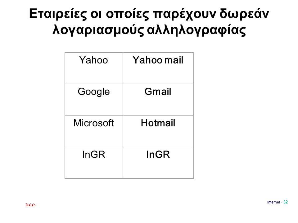 Dalab Internet - 32 Εταιρείες οι οποίες παρέχουν δωρεάν λογαριασμούς αλληλογραφίας YahooYahoo mail GoogleGmail MicrosoftHotmail InGR