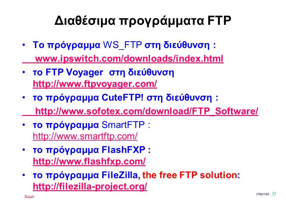 Dalab Internet - 37 Διαθέσιμα προγράμματα FTP Το πρόγραμμα WS_FTP στη διεύθυνση : www.ipswitch.com/downloads/index.html το FTP Voyager στη διεύθυνση http://www.ftpvoyager.com/ http://www.ftpvoyager.com/ το πρόγραμμα CuteFTP.
