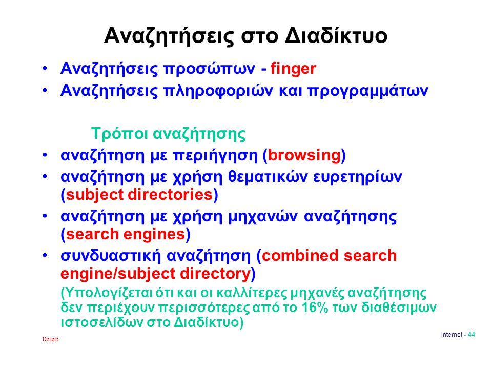 Dalab Internet - 44 Αναζητήσεις στο Διαδίκτυο Αναζητήσεις προσώπων - finger Αναζητήσεις πληροφοριών και προγραμμάτων Τρόποι αναζήτησης αναζήτηση με περιήγηση (browsing) αναζήτηση με χρήση θεματικών ευρετηρίων (subject directories) αναζήτηση με χρήση μηχανών αναζήτησης (search engines) συνδυαστική αναζήτηση (combined search engine/subject directory) (Υπολογίζεται ότι και οι καλλίτερες μηχανές αναζήτησης δεν περιέχουν περισσότερες από το 16% των διαθέσιμων ιστοσελίδων στο Διαδίκτυο)