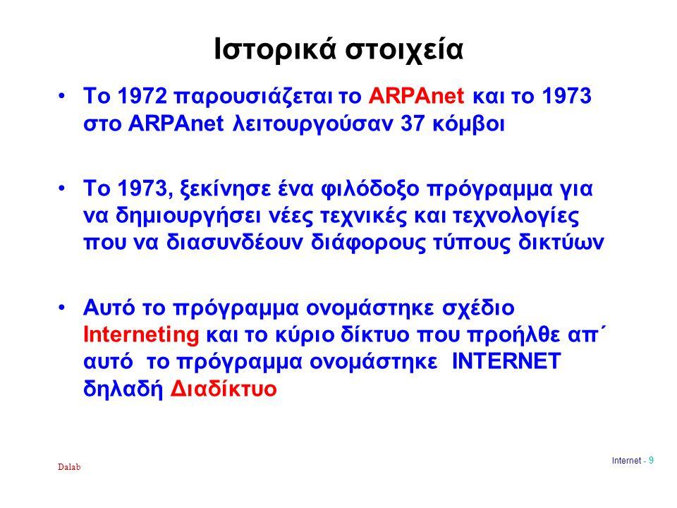 Dalab Internet - 9 Ιστορικά στοιχεία Το 1972 παρουσιάζεται το ARPAnet και το 1973 στο ARPAnet λειτουργούσαν 37 κόμβοι Το 1973, ξεκίνησε ένα φιλόδοξο πρόγραμμα για να δημιουργήσει νέες τεχνικές και τεχνολογίες που να διασυνδέουν διάφορους τύπους δικτύων Αυτό το πρόγραμμα ονομάστηκε σχέδιο Interneting και το κύριο δίκτυο που προήλθε απ΄ αυτό το πρόγραμμα ονομάστηκε INTERNET δηλαδή Διαδίκτυο