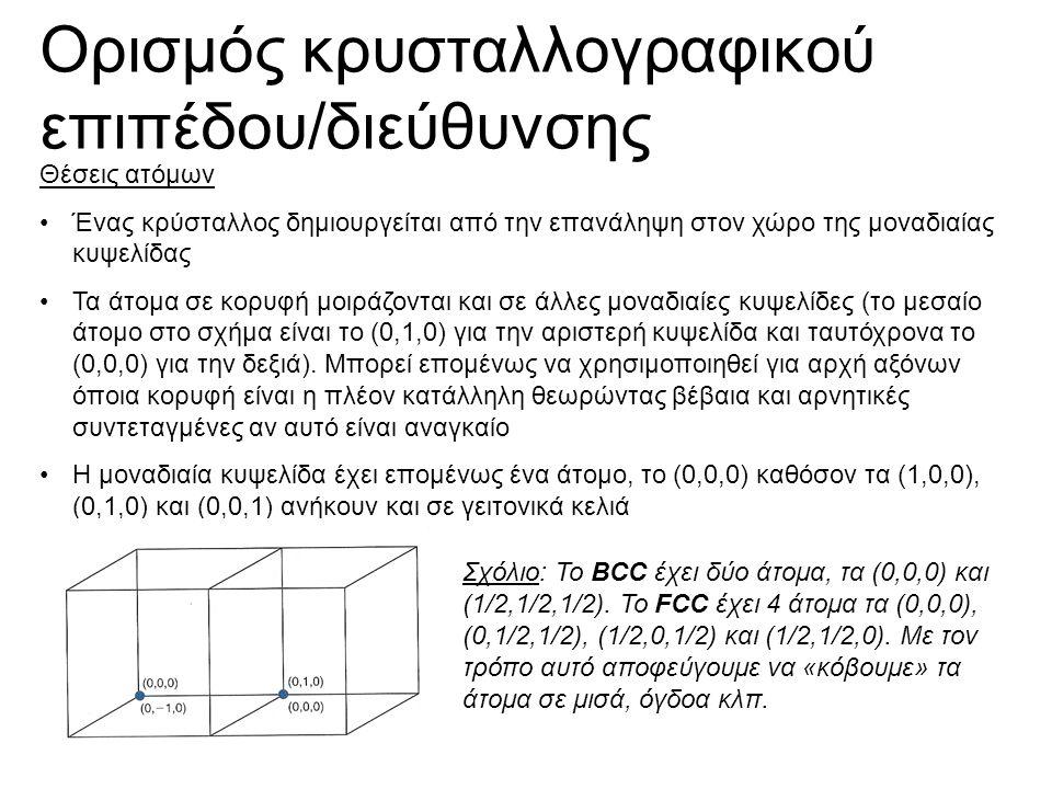 Ορισμός κρυσταλλογραφικού επιπέδου/διεύθυνσης Θέσεις ατόμων Ένας κρύσταλλος δημιουργείται από την επανάληψη στον χώρο της μοναδιαίας κυψελίδας Τα άτομα σε κορυφή μοιράζονται και σε άλλες μοναδιαίες κυψελίδες (το μεσαίο άτομο στο σχήμα είναι το (0,1,0) για την αριστερή κυψελίδα και ταυτόχρονα το (0,0,0) για την δεξιά).