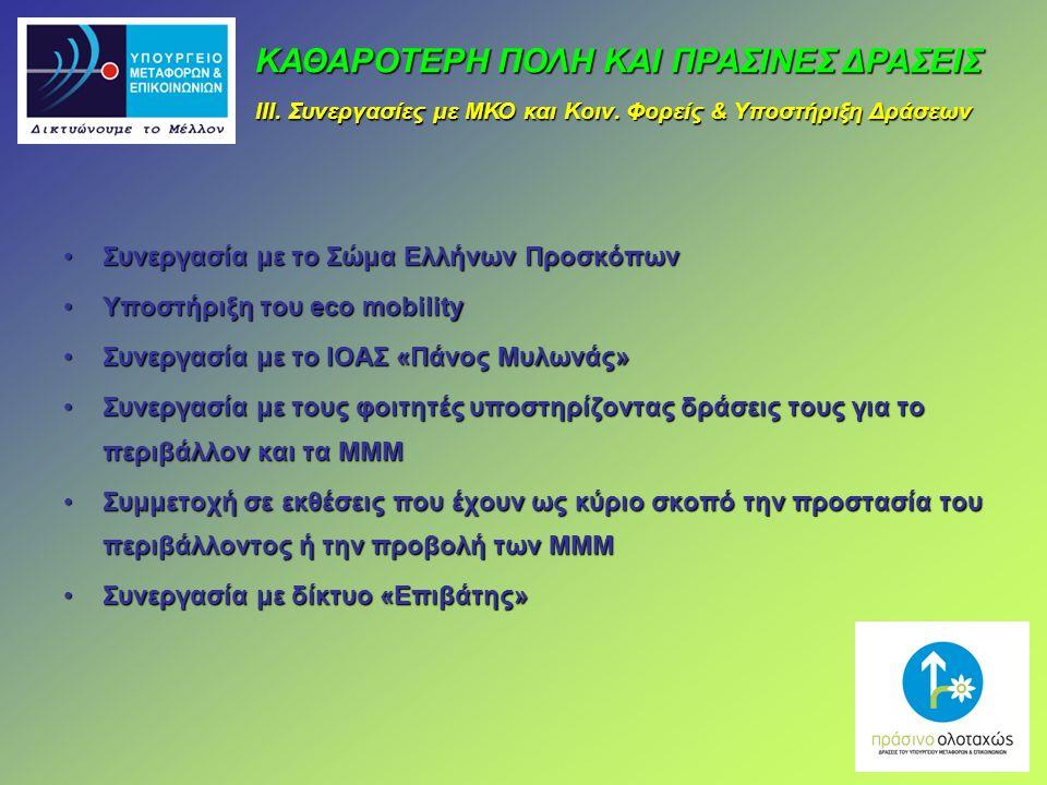 Συνεργασία με το Σώμα Ελλήνων ΠροσκόπωνΣυνεργασία με το Σώμα Ελλήνων Προσκόπων Υποστήριξη του eco mobilityΥποστήριξη του eco mobility Συνεργασία με το ΙΟΑΣ «Πάνος Μυλωνάς»Συνεργασία με το ΙΟΑΣ «Πάνος Μυλωνάς» Συνεργασία με τους φοιτητές υποστηρίζοντας δράσεις τους για το περιβάλλον και τα ΜΜΜΣυνεργασία με τους φοιτητές υποστηρίζοντας δράσεις τους για το περιβάλλον και τα ΜΜΜ Συμμετοχή σε εκθέσεις που έχουν ως κύριο σκοπό την προστασία του περιβάλλοντος ή την προβολή των ΜΜΜΣυμμετοχή σε εκθέσεις που έχουν ως κύριο σκοπό την προστασία του περιβάλλοντος ή την προβολή των ΜΜΜ Συνεργασία με δίκτυο «Επιβάτης»Συνεργασία με δίκτυο «Επιβάτης» ΚΑΘΑΡΟΤΕΡΗ ΠΟΛΗ ΚΑΙ ΠΡΑΣΙΝΕΣ ΔΡΑΣΕΙΣ ΙΙΙ.