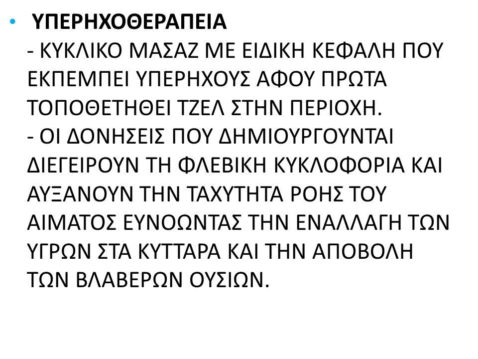 ΥΠΕΡΗΧΟΘΕΡΑΠΕΙΑ - ΚΥΚΛΙΚΟ ΜΑΣΑΖ ΜΕ ΕΙΔΙΚΗ ΚΕΦΑΛΗ ΠΟΥ ΕΚΠΕΜΠΕΙ ΥΠΕΡΗΧΟΥΣ ΑΦΟΥ ΠΡΩΤΑ ΤΟΠΟΘΕΤΗΘΕΙ ΤΖΕΛ ΣΤΗΝ ΠΕΡΙΟΧΗ. - ΟΙ ΔΟΝΗΣΕΙΣ ΠΟΥ ΔΗΜΙΟΥΡΓΟΥΝΤΑΙ ΔΙΕ