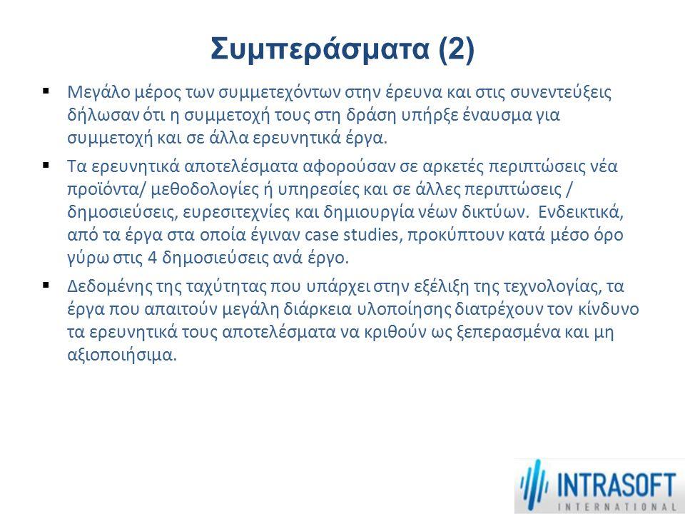 Συμπεράσματα (2)  Μεγάλο μέρος των συμμετεχόντων στην έρευνα και στις συνεντεύξεις δήλωσαν ότι η συμμετοχή τους στη δράση υπήρξε έναυσμα για συμμετοχ