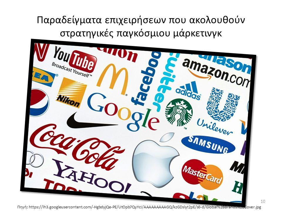 Παραδείγματα επιχειρήσεων που ακολουθούν στρατηγικές παγκόσμιου μάρκετινγκ Πηγή: https://lh3.googleusercontent.com/-HgbdyjQe-PE/UtOpb7QyYcI/AAAAAAAAAGQ/kzGDslyt2pE/s0-d/Global%2BBrands%2BCover.jpg 10