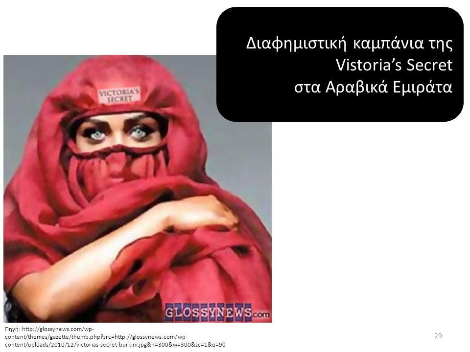Διαφημιστική καμπάνια της Vistoria's Secret στα Αραβικά Εμιράτα Πηγή: http://glossynews.com/wp- content/themes/gazette/thumb.php src=http://glossynews.com/wp- content/uploads/2010/12/victorias-secret-burkini.jpg&h=300&w=300&zc=1&q=90 29